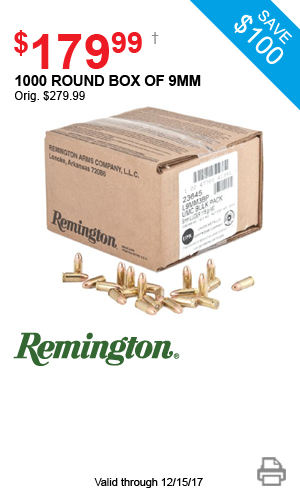 Remington 1000 Round Box of 9mm - $199.99