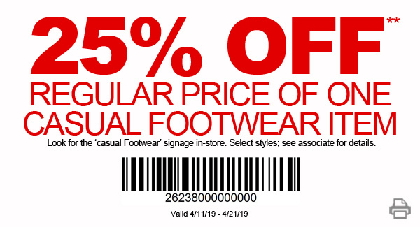 25% Off 1 Casual Footwear Item