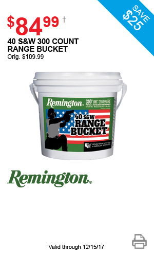 Remington 40 S&W 300 Count Range Bucket - $84.99