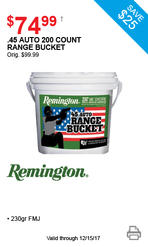 Remington .45 Auto 200 Count Rand Bucket - $74.99
