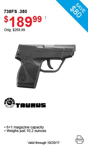 Taurus 738FS .380 - $189.99