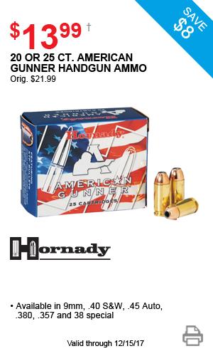Hornady 20 or 25 ct. American Gunner Handgun Ammo - $13.99