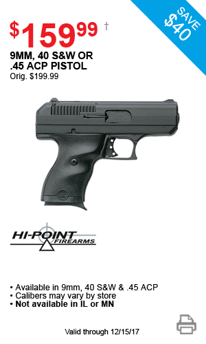 Hi-Point 9mm, 40 S&W or .40 ACP Pistol - $159.99