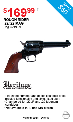 Heritage Rough Rider .22/.22 mag - $169.99