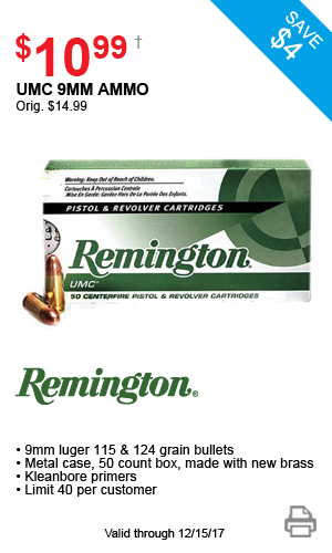 Remington UMC 9mm Ammo - $10.99