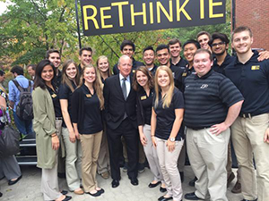 Purdue President Mitch Daniels and IE students