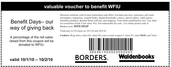 WFIU Borders Benefit Days Coupon