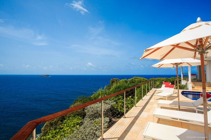 4 bedroom Villa in Point Milou St. Barths, pool deck with ocean views, Caribbean villa