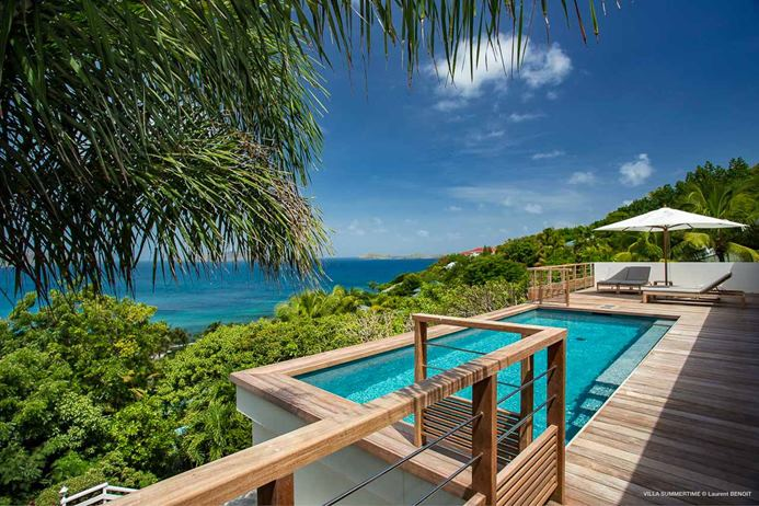 4 bedroom Villa in Point Milou St. Barths, pool deck with ocean views