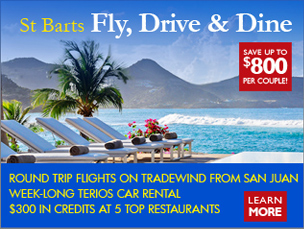 St Barts Fly, Drive & Dine Travel Package