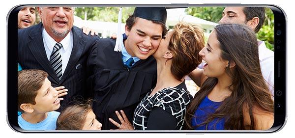 graduation photo on Galaxy 8 phone